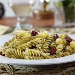 Gluten Free Rotini with a Charred Green Onion Pesto, Toasted Cashews and Cranberries Recipe - This flavorful dish combines rotini pasta with a fresh green onion pesto, toasted cashews and cranberries.