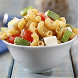 Elbows Salad with Avocado, Tomato and Mozzarella Recipe - This dish pairs elbow pasta with avocado, tomato and fresh mozzarella cheese for a light and tasty salad.