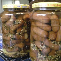 My Pickled Little Smokies Recipe - Little smoked sausages are pickled in vinegar and spices for a unique snack. You can make pickled eggs, too -- just substitute eggs for sausages in the recipe. Why not make both? These need 3 days to marinate before serving.