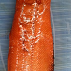 Salmon Brine That's Oh-So-Fine Recipe - Make your own salmon brine that is oh-so-fine. Serve the cooked salmon on sliced baguette with sour cream dill sauce for a fancy appetizer.