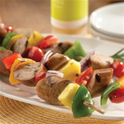 Sweet Apple Chicken Sausage Kabobs Recipe - Sweet apple chicken sausage kabobs coated in a homemade apple marinade is a tasty appetizer or dinner item for summertime grilling.