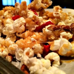 Lovely Lisa's Sweet and Salty Caramel Popcorn Recipe - Lisa's concoction of caramel popcorn with bits of licorice and pretzels is, in fact, lovely - salty, sweet, chewy, and crunchy.