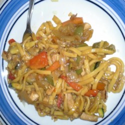 Chicken Chow Mein (West Indian Style) Recipe - West Indian-style chicken chow mein gets a zippy flavor from ginger and chile peppers and is tossed with soy sauce and cilantro for a spicy, flavorful meal.