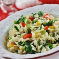 Sunny Pepper Parmesan Rice with Spinach Recipe - This is a really tasty, colourful, and quick side dish or a fast meal for those on the go. I make this about once a week and it is great reheated with a sprinkle of Parmesan.