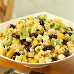 Ditalini Salad with Black Beans, Corn, Lime, Cotija Cheese and Avocado