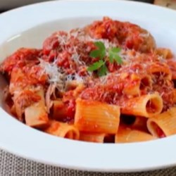 Chef John's Sunday Pasta Sauce Recipe and Video - This delicious tomato-based pasta sauce gets extra flavor from the combination of slow simmered beef, pork, and chicken.