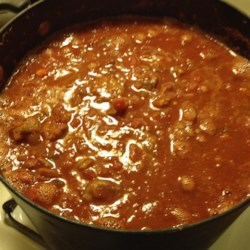 Oktoberfest Chili Recipe - A hearty and different chili with bratwurst, sauerkraut, and German beer, plus the typical chili beans, peppers, and spices, brings a German twist to this Oktoberfest favorite.