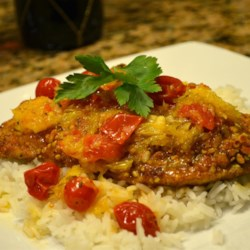 Almond Crusted Chicken with Tomato Citrus Sauce
