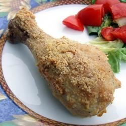 Parmesan Chicken II Recipe -  Drumsticks heaped with Parmesan cheese bake up golden and delicious.