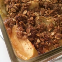 Pear or Apple Cobbler Recipe - Pears are baked with a crumbly oat topping creating a delightful pear cobbler. Serve with a scoop of vanilla ice cream.