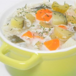Authentic Polish Pickle Soup (Zupa Orgorkowa) Recipe - Zupa Orgorkowa is a traditional Polish chicken and vegetable soup. It gets it's zing from thinly sliced pickles and a bit of sour cream.