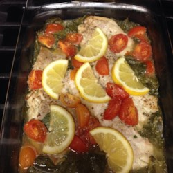 One-Dish Rockfish Recipe - Rockfish fillets are placed on a bed of fresh spinach, seasoned with dill, lemon pepper, garlic powder, onion powder, salt, and pepper and topped with lemon, onion, and baked for a great-tasting, one-dish meal.