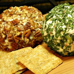 Bacon-Bleu Cheese Ball Recipe - This zesty, blue cheese-and-bacon cheese ball is great for spreading on your favorite crackers as an appetizer or snack.