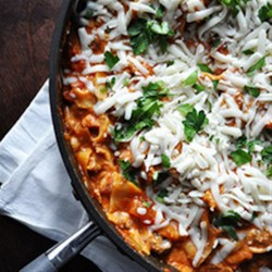 Easy Cheesy Skillet Lasagna Recipe - Lasagna with sausage, mushrooms, and lots of cheese is fast and easy on the stove top--and there's no compromise on flavor.