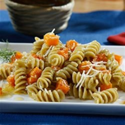 Veggie Rotini Pasta Salad with Roasted Butternut Squash and Citrus Dill Vinaigrette Recipe - Barilla(R) Veggie Rotini pasta is tossed in a citrus-dill vinaigrette with roasted squash and onions for this quick vegetarian family pleaser.