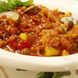 Rainbow Veggie Chili Recipe - Multi-colored vegetables make this chili delicious and pretty! Serve with cornbread for a great fall dinner.