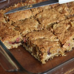 Raisin Squares Recipe - Raisins, coconut and cherries are baked on top of an oat crust in these chewy and delicious bar cookies. This recipe has been in our family for years. It is a Christmas tradition.