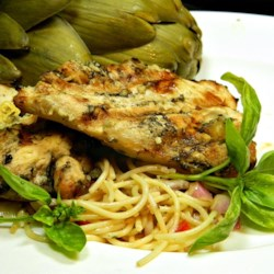 Lemon Basil Grilled Chicken Recipe - Tart, fresh marinade livens up simple grilled chicken.