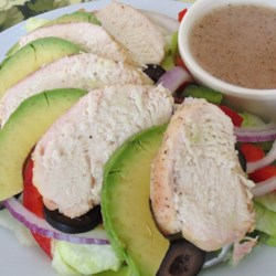 Chicken Salad Avocado Recipe - Chicken and avocado salad with plenty of veggies is tossed in a homemade vinaigrette for a refreshing salad for lunch or dinner.