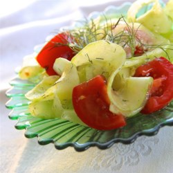 Quick Cucumber Salad Recipe - This is a simple cucumber-and-tomato salad with a quick homemade dill-flavored balsamic vinaigrette dressing.