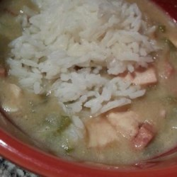 Slow Cooker Chicken and Sausage Gumbo Recipe - Slowly cooking the roux brings a deliciously authentic taste to this simple gumbo.