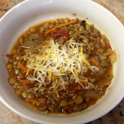 Hearty Lentil and Sausage Soup Recipe - Lentil soup flavored with sausage and herbs is a good hearty option for a cold winter day.