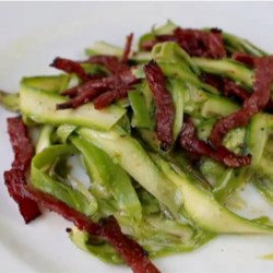 Chef John's Shaved Asparagus Salad Recipe - Chef John's shaved asparagus salad combines thin ribbons of fresh asparagus with a delightful mustard dressing and tops it off with crisped pastrami.