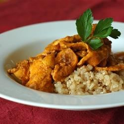 Indian Chicken Curry II Recipe - Indian-inspired chicken curry includes a variety of aromatic spices simmered in a coconut milk-based sauce and served with naan bread and rice.