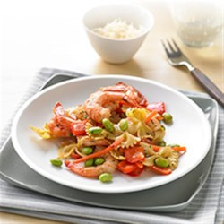 Easy Shrimp and Veggie Pasta Fresca Recipe - Fresh veggies, shrimp and pasta make this one-dish meal a busy cook's dream! Neutral soybean oil lets the fresh flavors take center stage. Serve and enjoy, hot or cold!