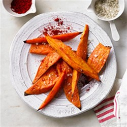 Oven Baked Sweet Potato Fries Recipe - Need a side dish? Bake a batch of sweet potato fries that will please your friends and family. Soybean oil, labeled vegetable oil, helps brown evenly. Season as you please!