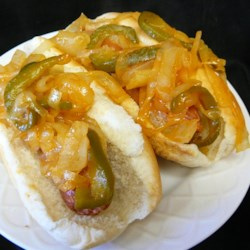New York Pushcart Onions (For Hot Dogs) Recipe - New York-style sweet and tangy onion relish with a hint of chili and spice are just perfect to put on that hot dog for lunch. They're quick and easy to make.