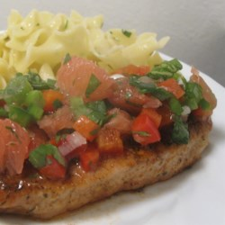 Sweet and Spicy Pork Chop with Grapefruit Salsa