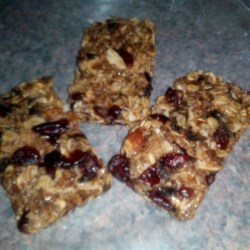 Fruity Granola Bars Recipe - Power packed, fruity and nutty.  Better than store-bought granola bars.  Use any kind of dried fruit e.g. - chopped dates, chopped apricots, chopped prunes, etc.