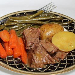 Healthier (but still awesome) Awesome Slow Cooker Pot Roast Recipe - Using low-fat, low-sodium cream of mushroom and omitting the soup mix, this tender pot roast has less sodium than the traditional version. The addition of carrots, potatoes, and string beans contributes to flavor as well as texture.