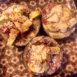 Baked Eggplant Recipe - Great baked vegetable side dish with slices of eggplant and tomato seasoned with oregano and Parmesan cheese.