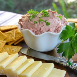 Pate Recipe - Flavorful braunschweiger liver sausage is the ideal base for this spreadable appetizer ball.