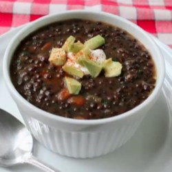 Chef John's Black Lentil Soup Recipe - Black 'beluga' lentils cook up for a tender, melt-in-you-mouth soup in Chef John's recipe for black lentil soup.
