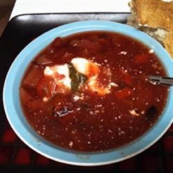 Django's Southern Borscht Recipe - Borscht made with beef, chipotle peppers, and jalapeno peppers gives a southern twist to the traditional Russian soup. Serve with sour cream and bread.