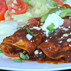 Refried Bean and Cheese Enchiladas Recipe - Refried bean and cheese enchiladas are a quick and easy, Mexican-inspired meal to make on busy weeknights.