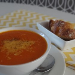 Roasted Tomato Soup Recipe - Roasted tomato soup made with roma tomatoes and red bell peppers is a tasty accompaniment to BLTs for a quick and easy weeknight dinner.