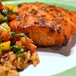 Salmon Tango Recipe - Salmon fillets are marinated in a tangy soy sauce and white wine blend, then tossed on the grill!