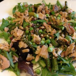 Asparagus and Smoked Salmon Salad Recipe - Pecans and smoked salmon are wonderful mixed together with a delicate dressing in this great salad that works well on the side or as a main dish.