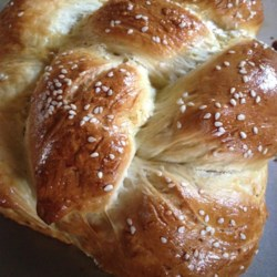 Braided Egg Bread Recipe - This is a large, lovely egg bread, braided and sprinkled with sesame seeds. It 's impressive on the buffet table at your next party.