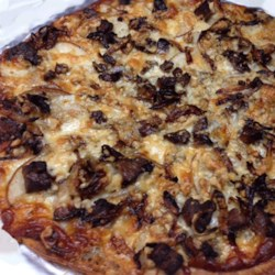 Steak, Pear, and Gorgonzola Cheese Pizza