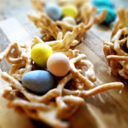 Bird's Nests III Recipe - Fill these cute nests with jellybeans, small gumdrops, chocolate-covered raisins, M&M's®, or other small candies. The kids can help fill the nests!