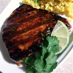Grilled Tropical Tuna Steaks Recipe - These grilled tuna steaks with a tropical twist are a great way to enjoy a relaxing summer-evening cookout out with friends.