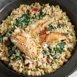 Quick Chicken and Spinach Risotto Recipe - Ready in less than 30 minutes, this one-pot meal with chicken, spinach, and tender rice will be a new family favorite.
