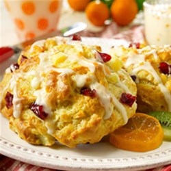 Pear Cranberry Scones Recipe - Chopped fresh pears, dried cranberries, and orange zest make delicious scones for breakfast, brunch, or tea time.