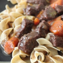 Beef Bourguignon Without the Burgundy  Recipe - Enjoy all the flavor of traditional beef bourguignon but without the steep price by using Merlot to stew the beef.