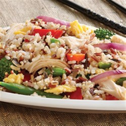 Chicken and Multi-Grain Stir Fry Recipe - Multi-grain delicious-ness simmered in chicken broth – lightly scrambled eggs with just the right touch of fresh garlic and onion and lots of fresh veggies.